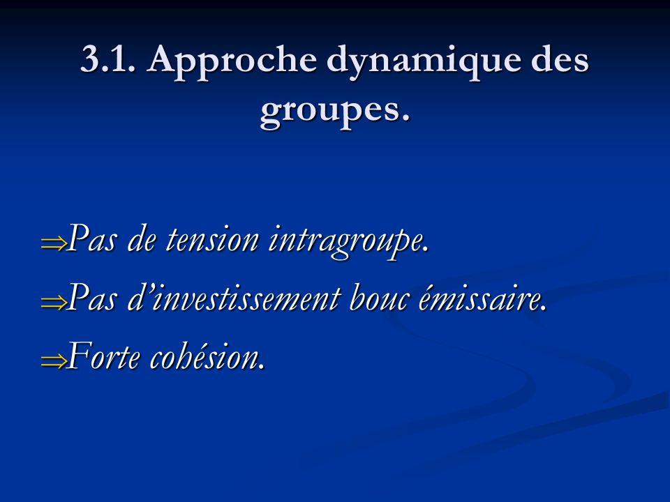 3.1. Approche dynamique des groupes. Pas de tension intragroupe. Pas de tension intragroupe. Pas dinvestissement bouc émissaire. Pas dinvestissement b