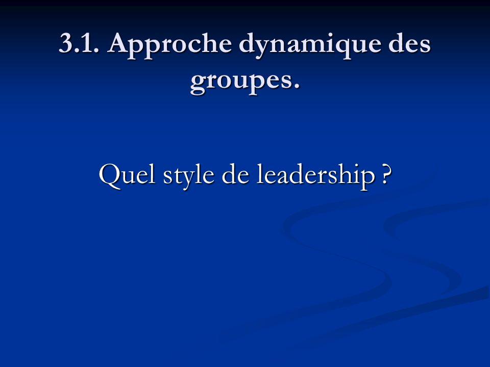 3.1. Approche dynamique des groupes. Quel style de leadership ?