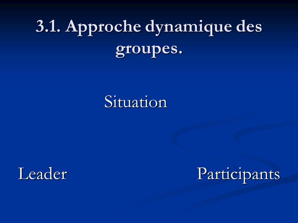 3.1. Approche dynamique des groupes. Situation LeaderParticipants