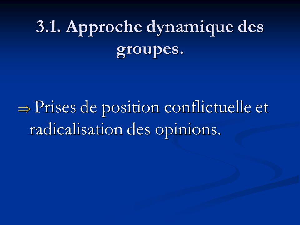 3.1. Approche dynamique des groupes. Prises de position conflictuelle et radicalisation des opinions. Prises de position conflictuelle et radicalisati