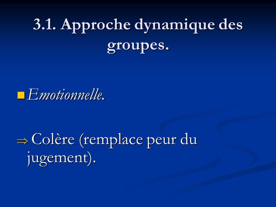 3.1. Approche dynamique des groupes. Emotionnelle. Emotionnelle. Colère (remplace peur du jugement). Colère (remplace peur du jugement).