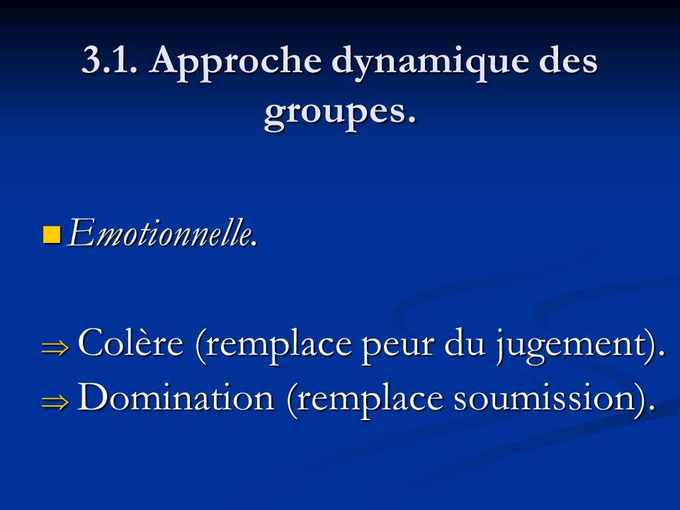 3.1. Approche dynamique des groupes. Emotionnelle. Emotionnelle. Colère (remplace peur du jugement). Colère (remplace peur du jugement). Domination (r