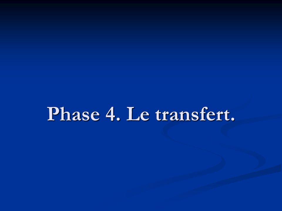 Phase 4. Le transfert.