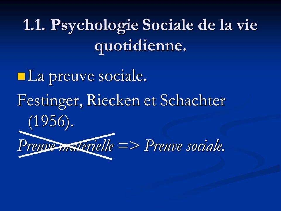 1.1. Psychologie Sociale de la vie quotidienne. La preuve sociale. La preuve sociale. Festinger, Riecken et Schachter (1956). Preuve matérielle => Pre