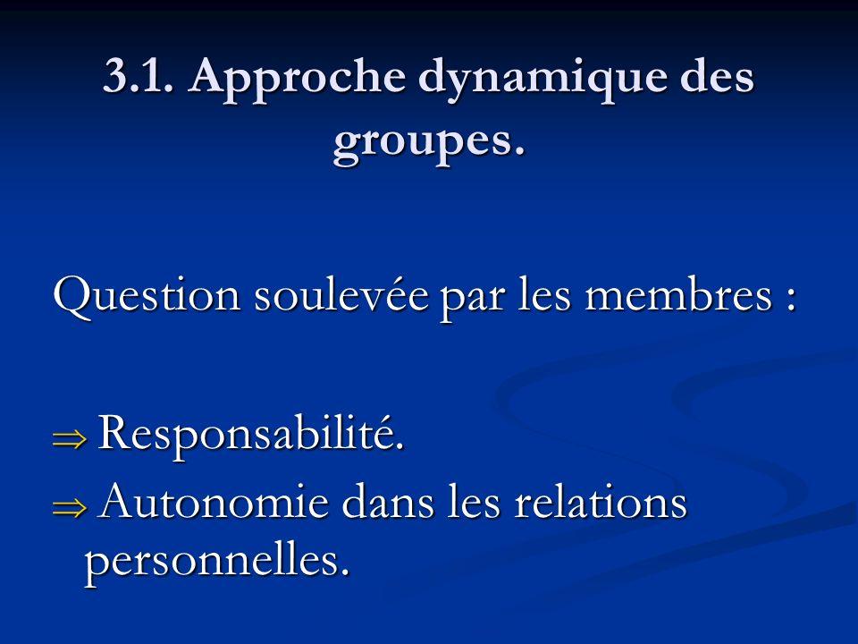 3.1. Approche dynamique des groupes. Question soulevée par les membres : Responsabilité. Responsabilité. Autonomie dans les relations personnelles. Au