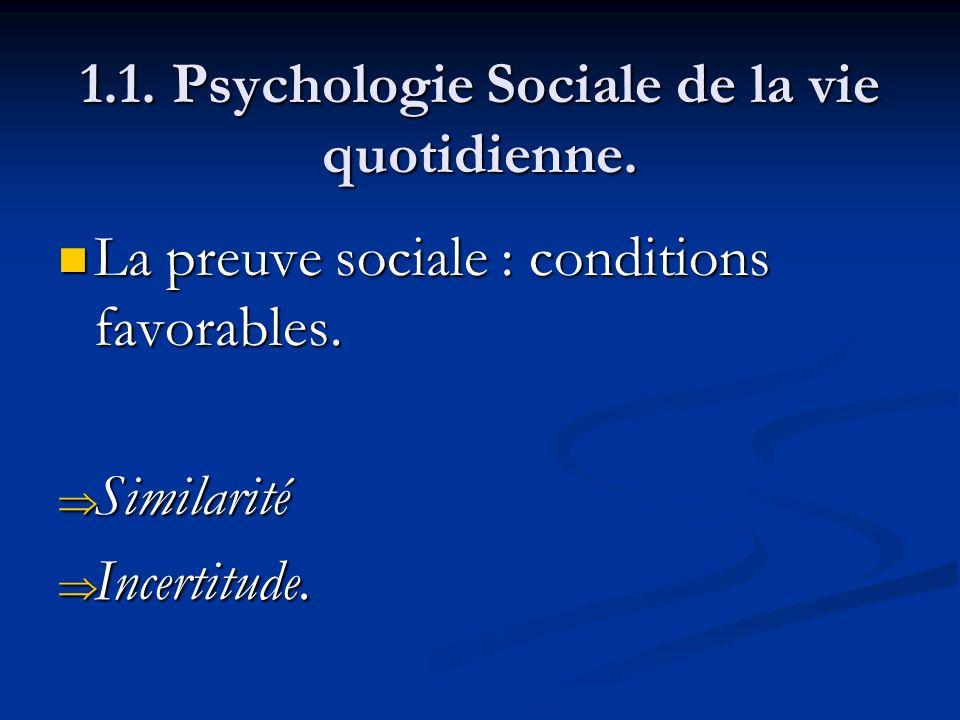 1.1. Psychologie Sociale de la vie quotidienne. La preuve sociale : conditions favorables. La preuve sociale : conditions favorables. Similarité Simil