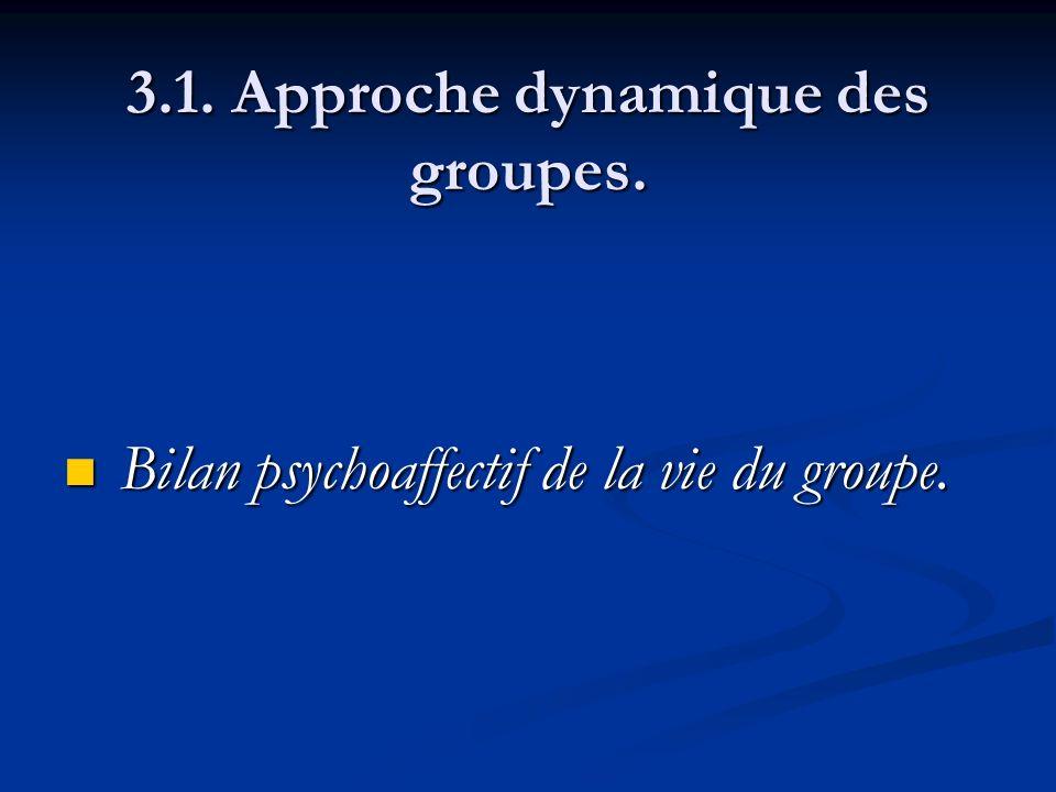 3.1. Approche dynamique des groupes. Bilan psychoaffectif de la vie du groupe. Bilan psychoaffectif de la vie du groupe.