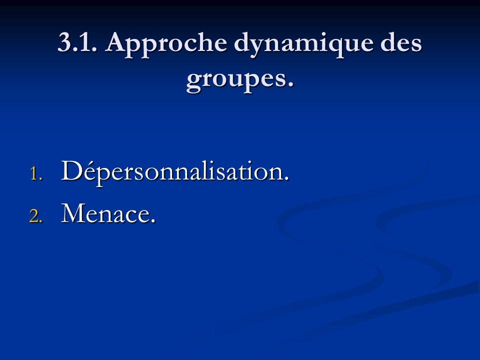 3.1. Approche dynamique des groupes. 1. Dépersonnalisation. 2. Menace.
