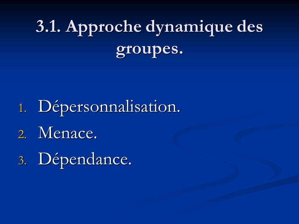 3.1. Approche dynamique des groupes. 1. Dépersonnalisation. 2. Menace. 3. Dépendance.