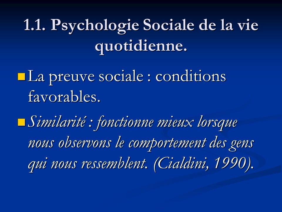 1.1. Psychologie Sociale de la vie quotidienne. La preuve sociale : conditions favorables. La preuve sociale : conditions favorables. Similarité : fon