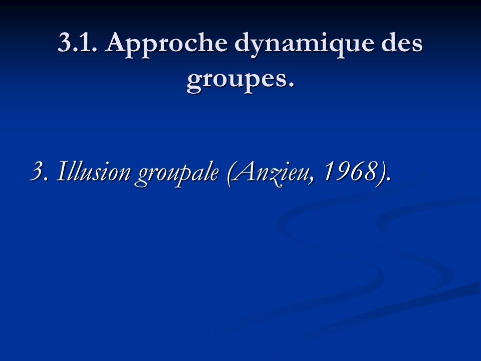 3.1. Approche dynamique des groupes. 3. Illusion groupale (Anzieu, 1968).