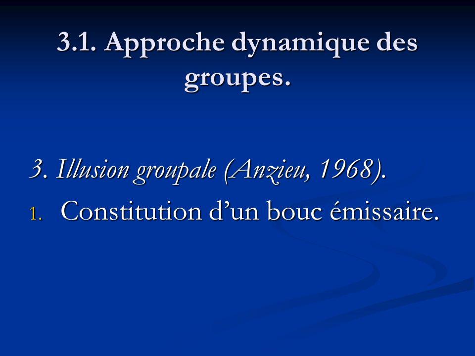 3.1. Approche dynamique des groupes. 3. Illusion groupale (Anzieu, 1968). 1. Constitution dun bouc émissaire.