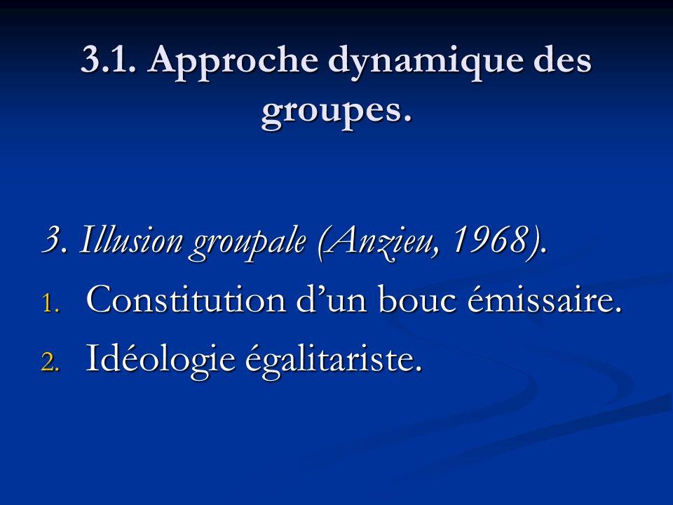 3.1. Approche dynamique des groupes. 3. Illusion groupale (Anzieu, 1968). 1. Constitution dun bouc émissaire. 2. Idéologie égalitariste.