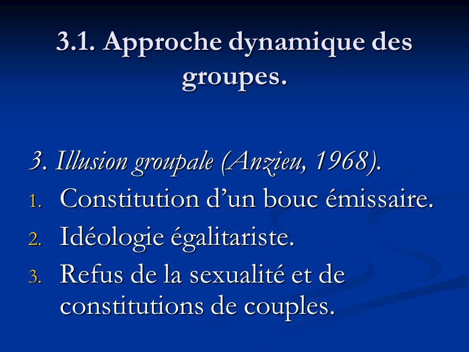3.1. Approche dynamique des groupes. 3. Illusion groupale (Anzieu, 1968). 1. Constitution dun bouc émissaire. 2. Idéologie égalitariste. 3. Refus de l