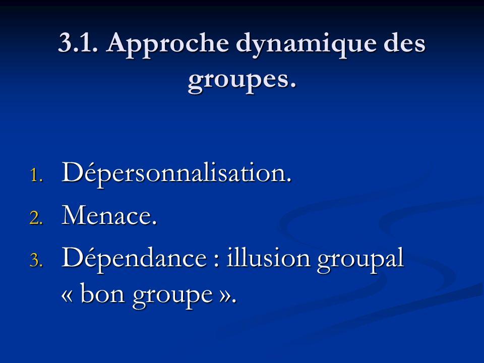 3.1. Approche dynamique des groupes. 1. Dépersonnalisation. 2. Menace. 3. Dépendance : illusion groupal « bon groupe ».