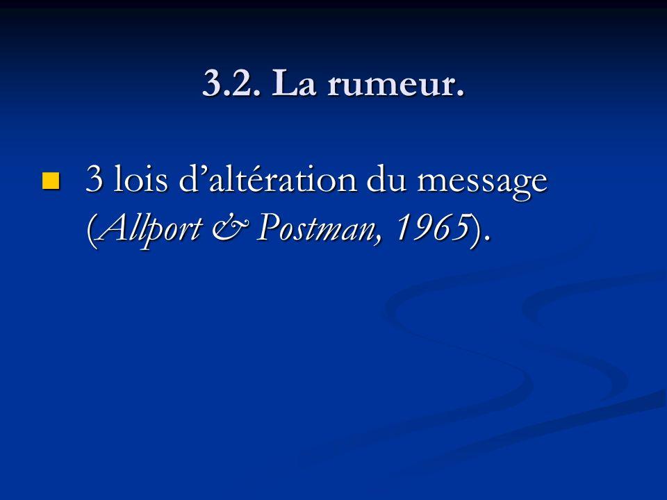 3.2. La rumeur. 3 lois daltération du message (Allport & Postman, 1965). 3 lois daltération du message (Allport & Postman, 1965).