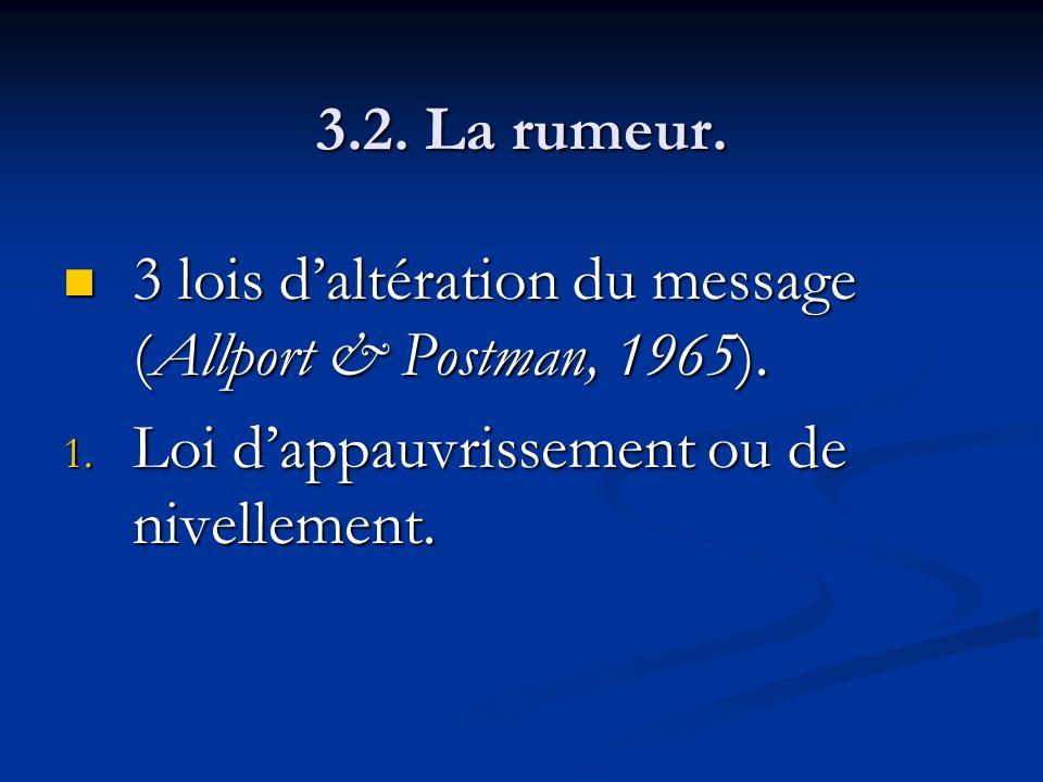 3.2. La rumeur. 3 lois daltération du message (Allport & Postman, 1965). 3 lois daltération du message (Allport & Postman, 1965). 1. Loi dappauvrissem