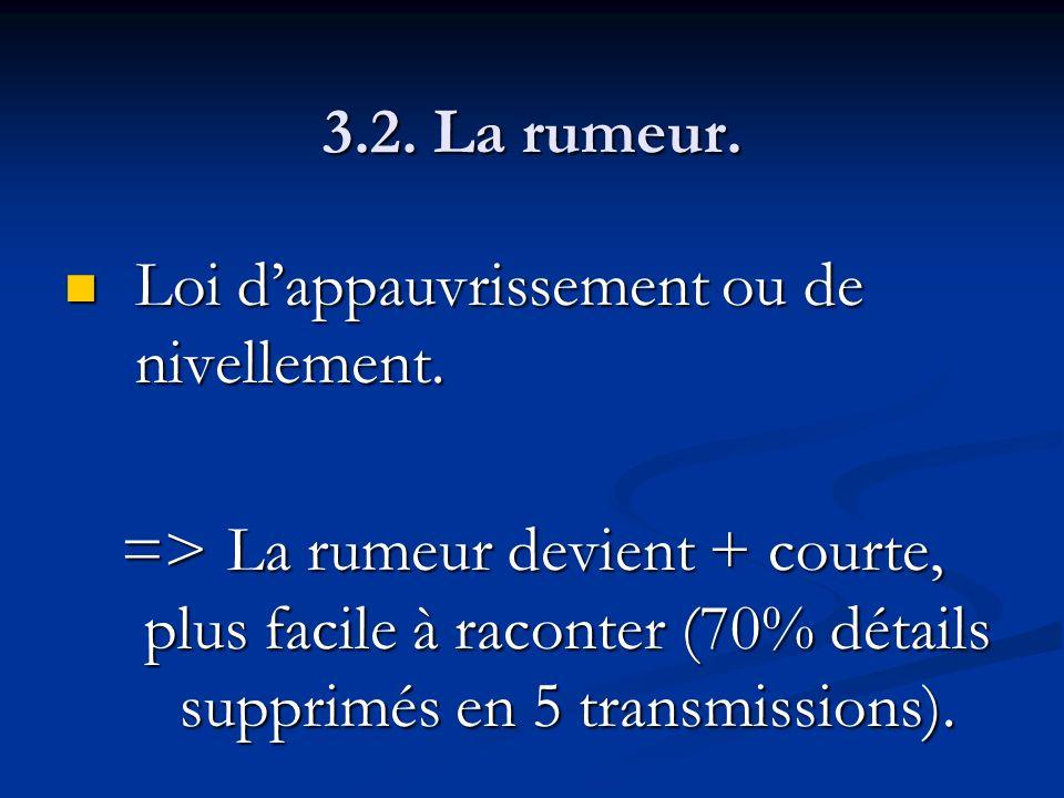3.2. La rumeur. Loi dappauvrissement ou de nivellement. Loi dappauvrissement ou de nivellement. =>La rumeur devient + courte, plus facile à raconter (
