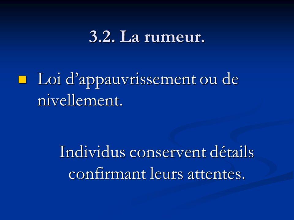 3.2. La rumeur. Loi dappauvrissement ou de nivellement. Loi dappauvrissement ou de nivellement. Individus conservent détails confirmant leurs attentes