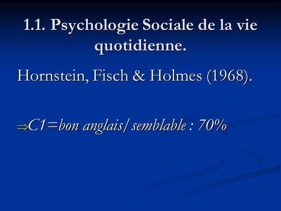 1.1. Psychologie Sociale de la vie quotidienne. Hornstein, Fisch & Holmes (1968). C1=bon anglais/semblable : 70% C1=bon anglais/semblable : 70%