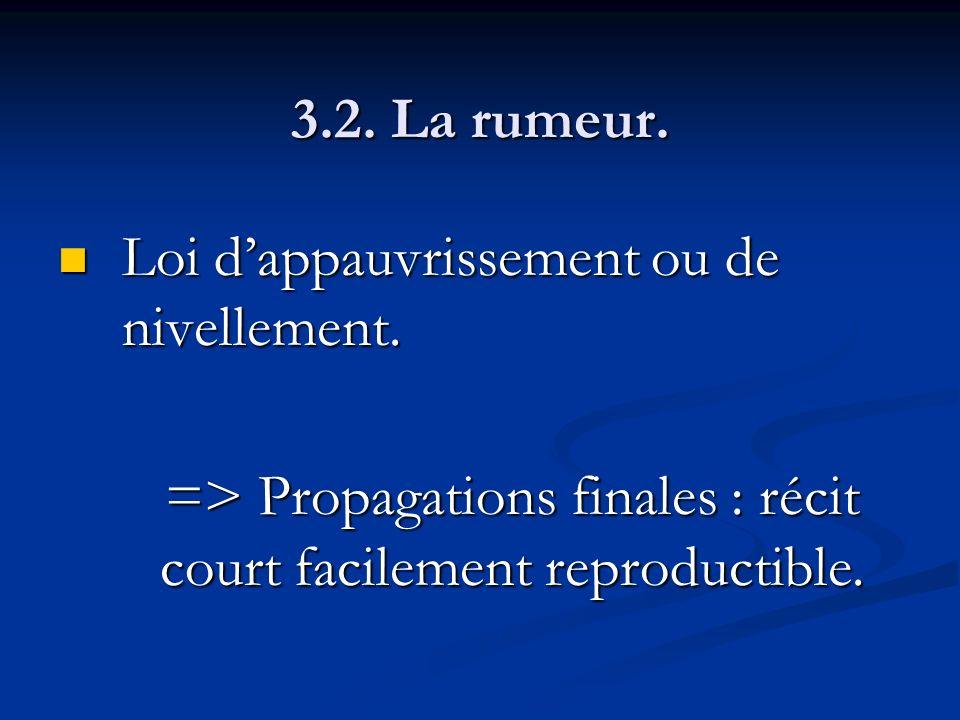 3.2. La rumeur. Loi dappauvrissement ou de nivellement. Loi dappauvrissement ou de nivellement. => Propagations finales : récit court facilement repro