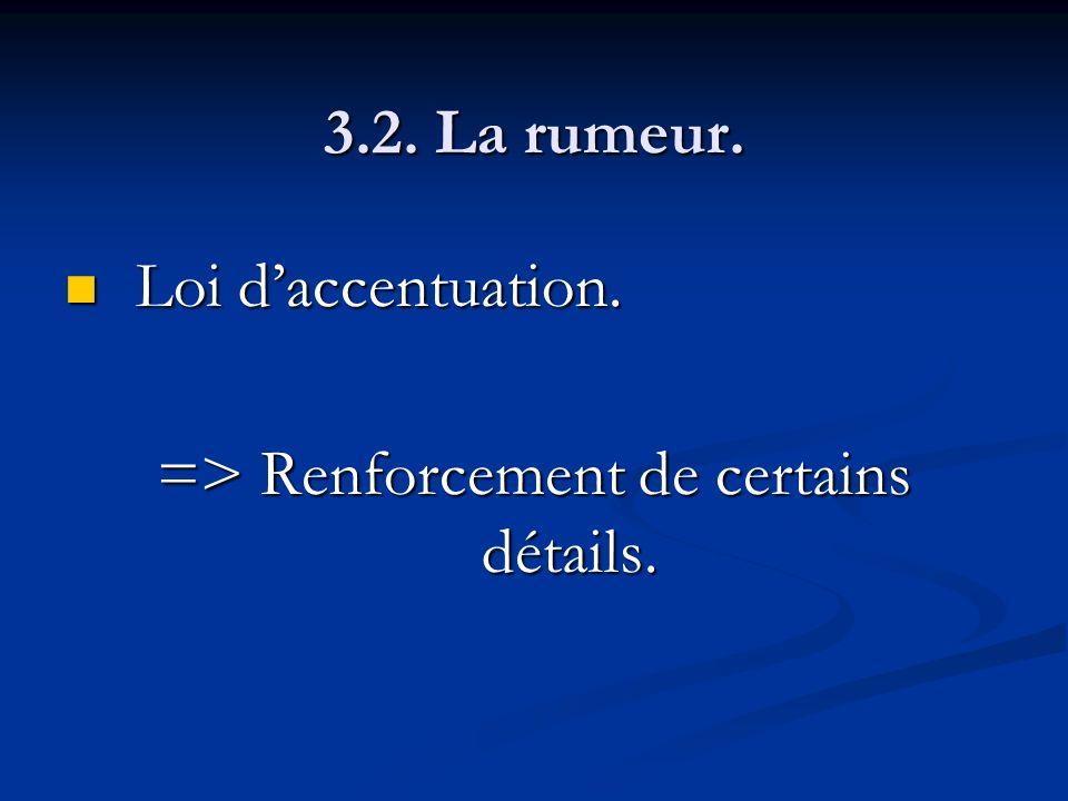 3.2. La rumeur. Loi daccentuation. Loi daccentuation. => Renforcement de certains détails.