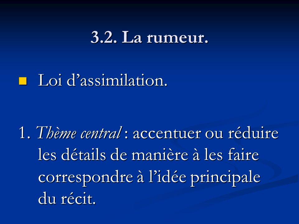 3.2. La rumeur. Loi dassimilation. Loi dassimilation. 1. Thème central : accentuer ou réduire les détails de manière à les faire correspondre à lidée