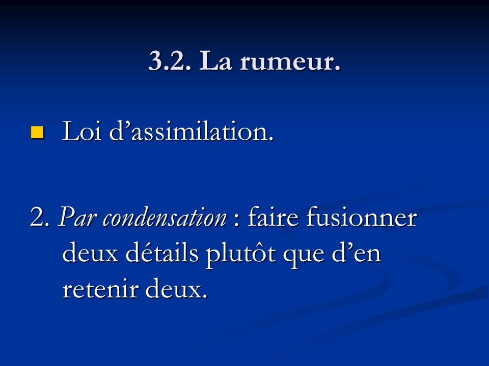 3.2. La rumeur. Loi dassimilation. Loi dassimilation. 2. Par condensation : faire fusionner deux détails plutôt que den retenir deux.