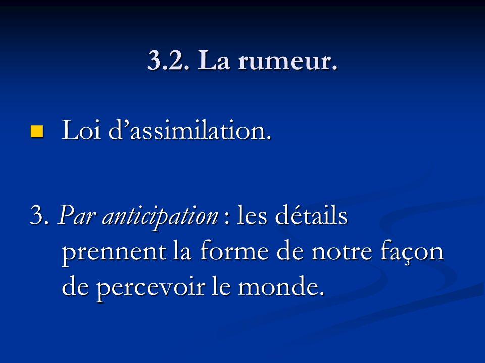 3.2. La rumeur. Loi dassimilation. Loi dassimilation. 3. Par anticipation : les détails prennent la forme de notre façon de percevoir le monde.