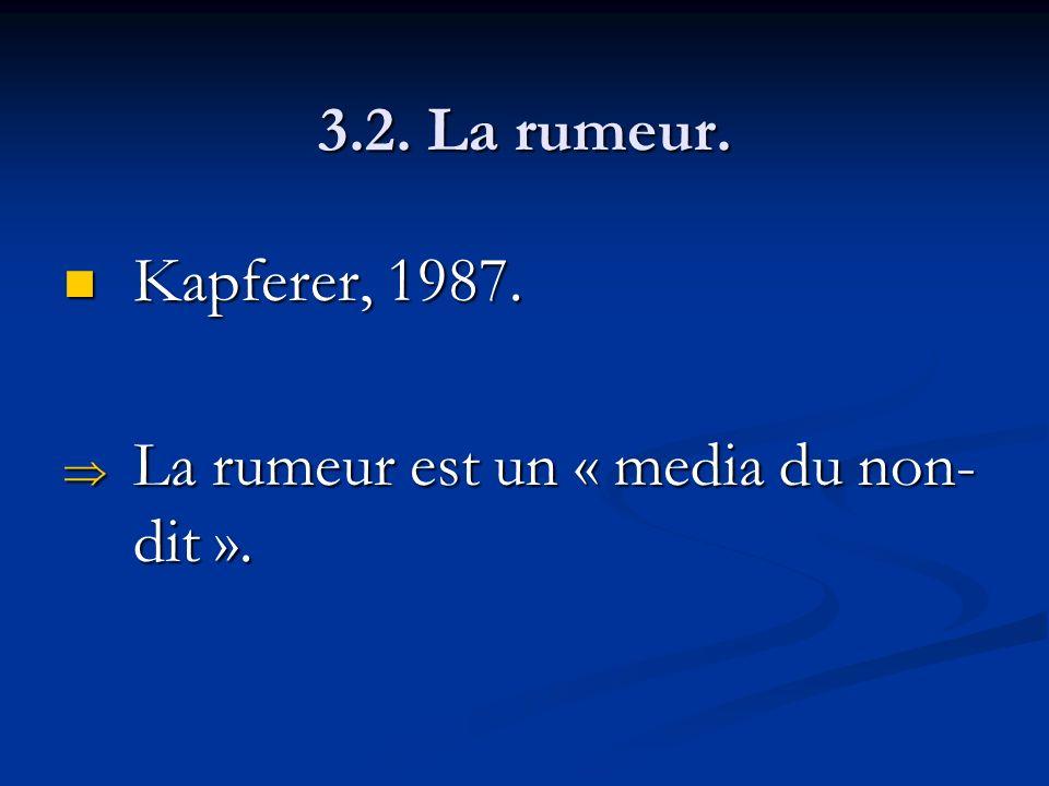3.2. La rumeur. Kapferer, 1987. Kapferer, 1987. La rumeur est un « media du non- dit ». La rumeur est un « media du non- dit ».