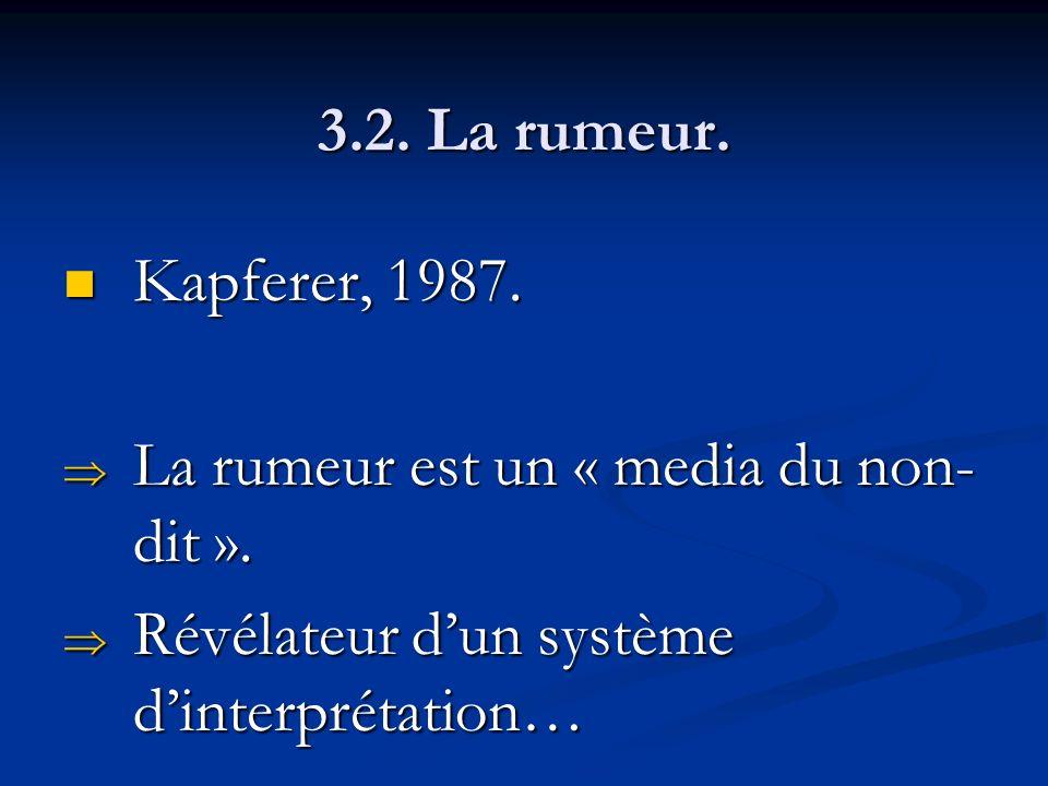 3.2. La rumeur. Kapferer, 1987. Kapferer, 1987. La rumeur est un « media du non- dit ». La rumeur est un « media du non- dit ». Révélateur dun système