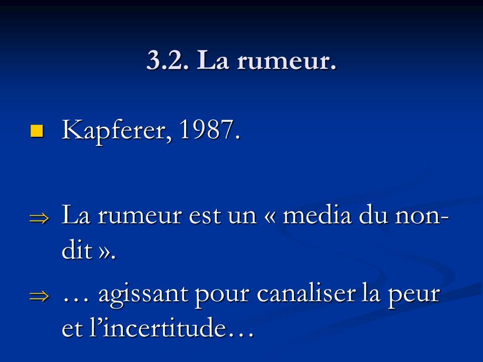 3.2. La rumeur. Kapferer, 1987. Kapferer, 1987. La rumeur est un « media du non- dit ». La rumeur est un « media du non- dit ». … agissant pour canali