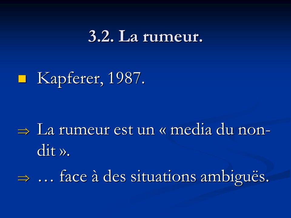 3.2. La rumeur. Kapferer, 1987. Kapferer, 1987. La rumeur est un « media du non- dit ». La rumeur est un « media du non- dit ». … face à des situation
