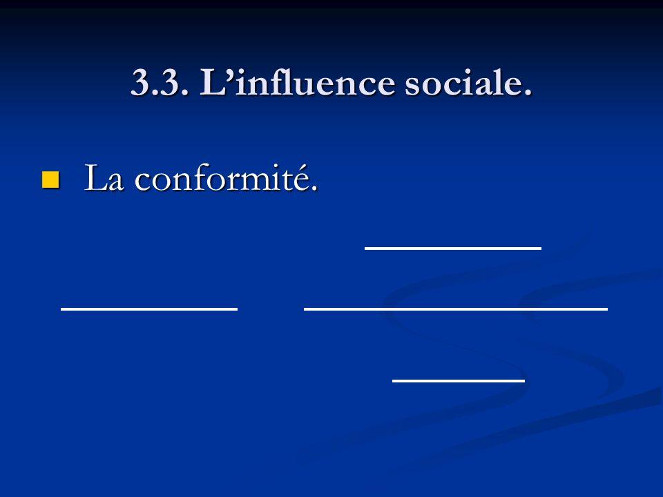 3.3. Linfluence sociale. La conformité. La conformité.