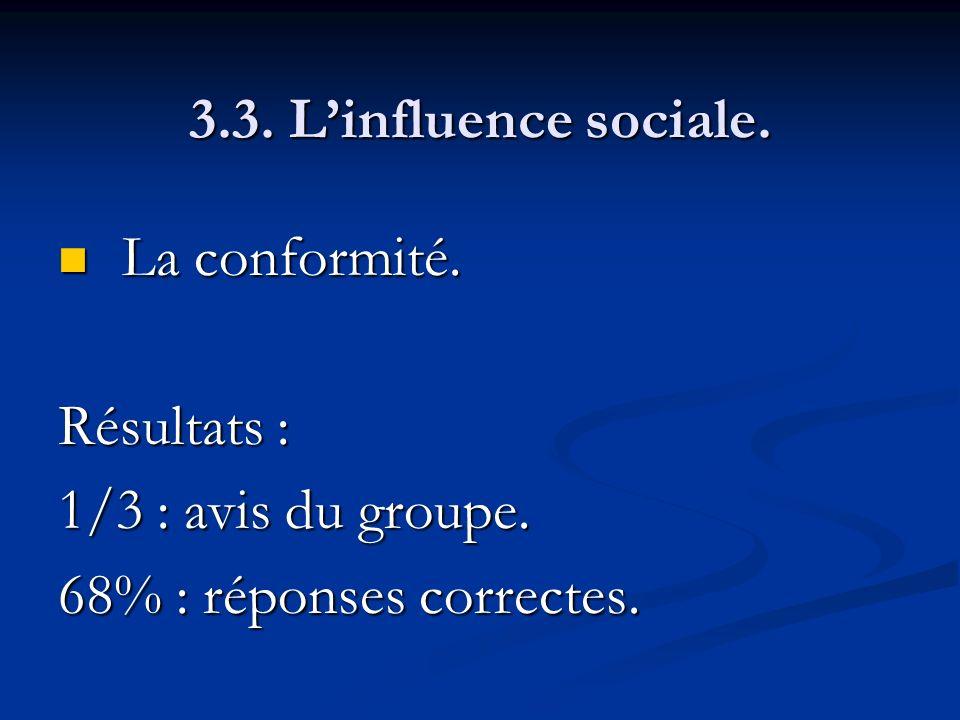 3.3. Linfluence sociale. La conformité. La conformité. Résultats : 1/3 : avis du groupe. 68% : réponses correctes.
