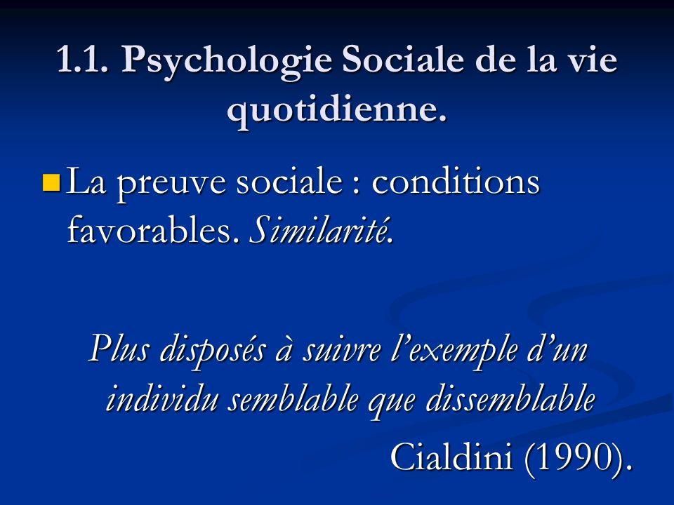 1.1. Psychologie Sociale de la vie quotidienne. La preuve sociale : conditions favorables. Similarité. La preuve sociale : conditions favorables. Simi