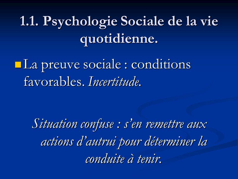 1.1. Psychologie Sociale de la vie quotidienne. La preuve sociale : conditions favorables. Incertitude. La preuve sociale : conditions favorables. Inc