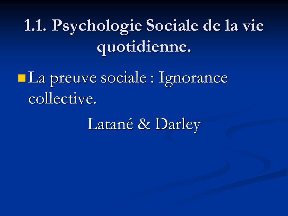 1.1. Psychologie Sociale de la vie quotidienne. La preuve sociale : Ignorance collective. La preuve sociale : Ignorance collective. Latané & Darley
