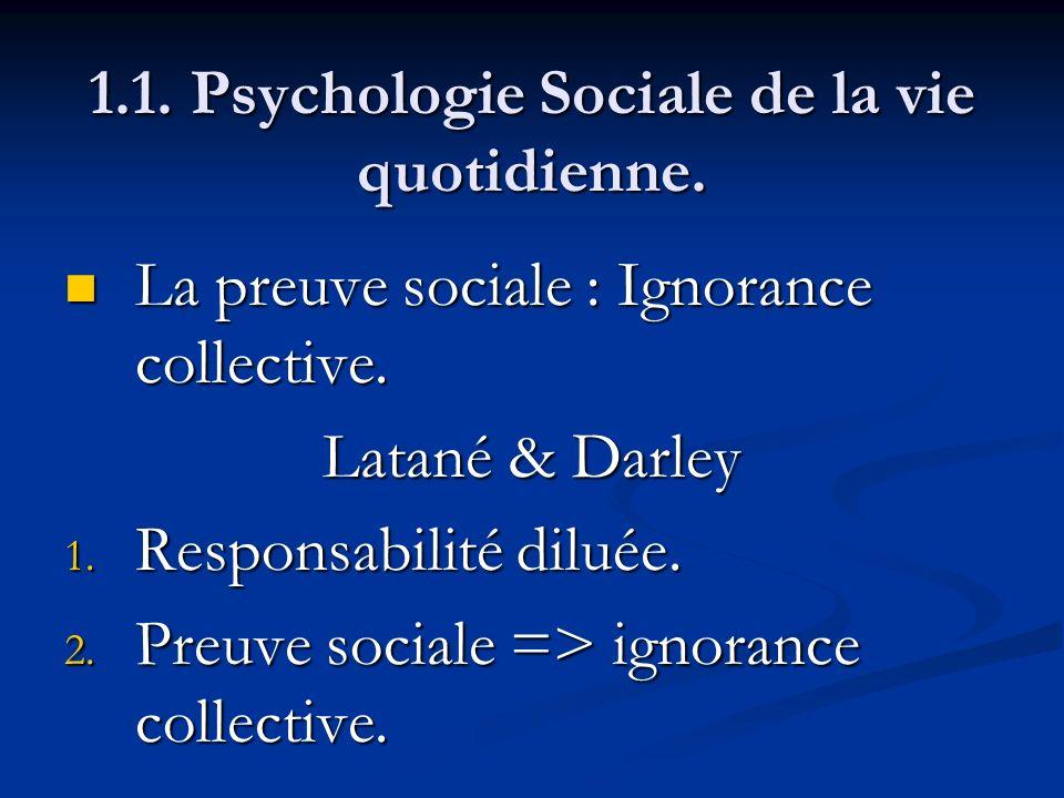 1.1. Psychologie Sociale de la vie quotidienne. La preuve sociale : Ignorance collective. La preuve sociale : Ignorance collective. Latané & Darley 1.