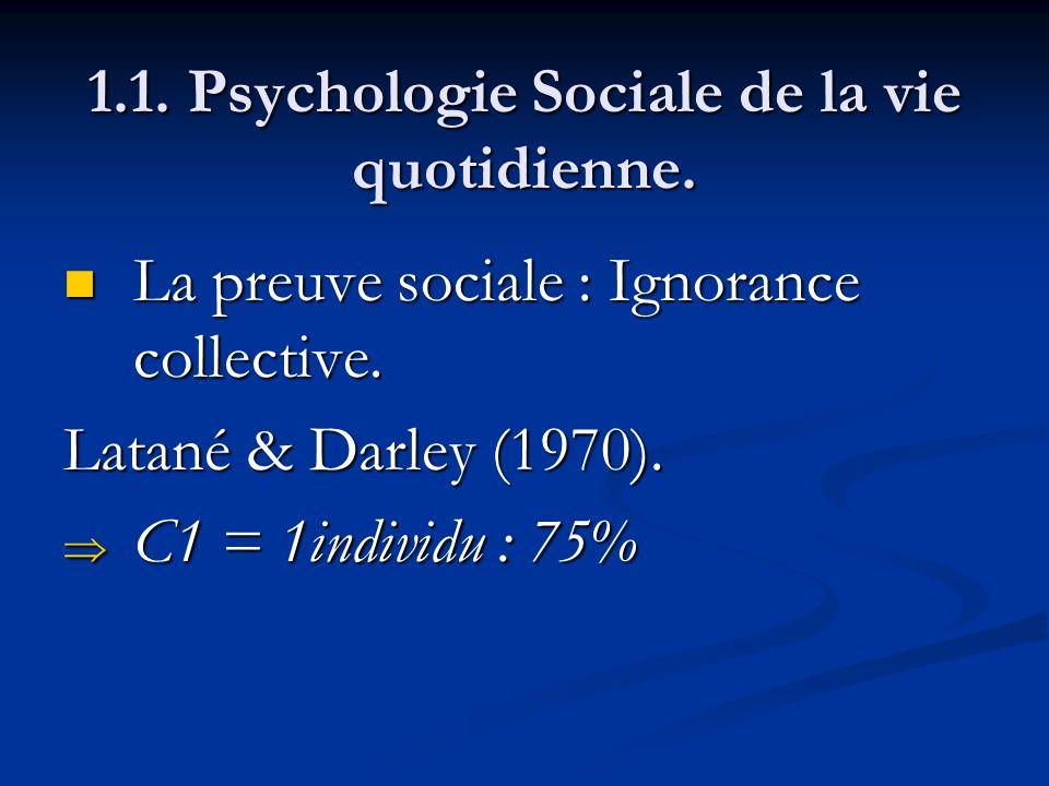 1.1. Psychologie Sociale de la vie quotidienne. La preuve sociale : Ignorance collective. La preuve sociale : Ignorance collective. Latané & Darley (1