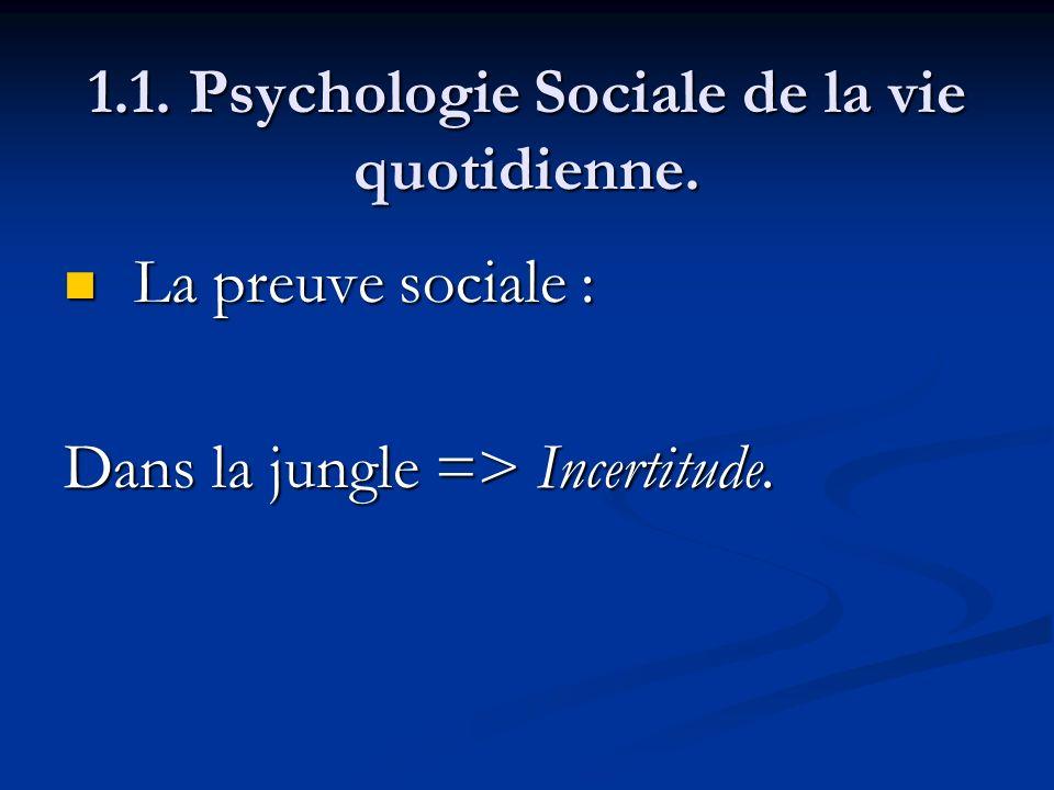 1.1. Psychologie Sociale de la vie quotidienne. La preuve sociale : La preuve sociale : Dans la jungle => Incertitude.