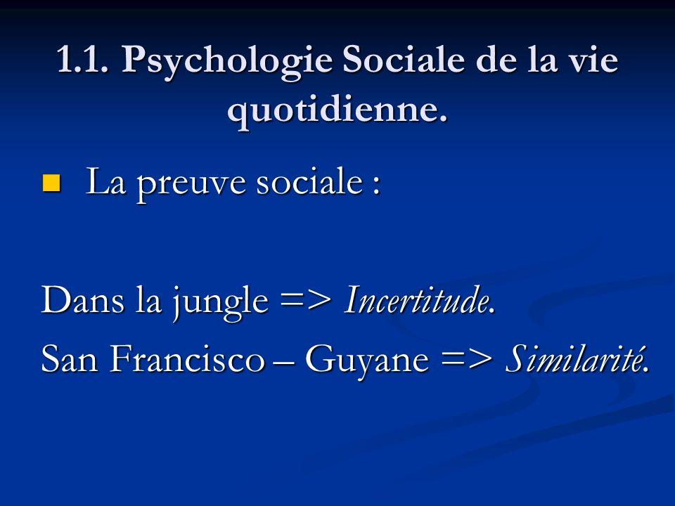 1.1. Psychologie Sociale de la vie quotidienne. La preuve sociale : La preuve sociale : Dans la jungle => Incertitude. San Francisco – Guyane => Simil