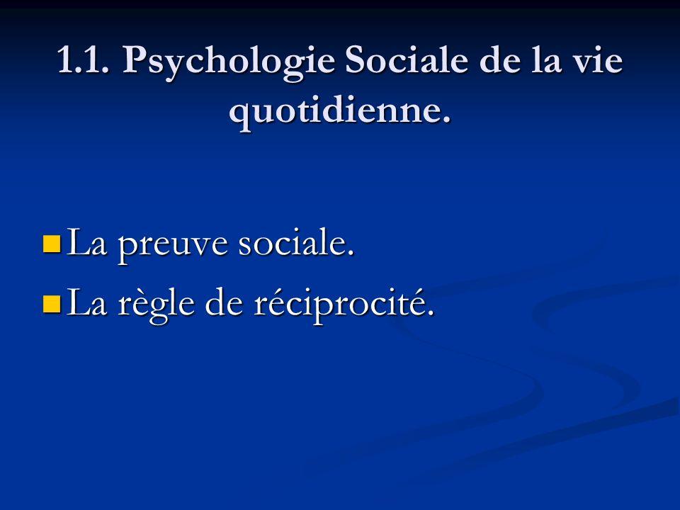 1.1. Psychologie Sociale de la vie quotidienne. La preuve sociale. La preuve sociale. La règle de réciprocité. La règle de réciprocité.