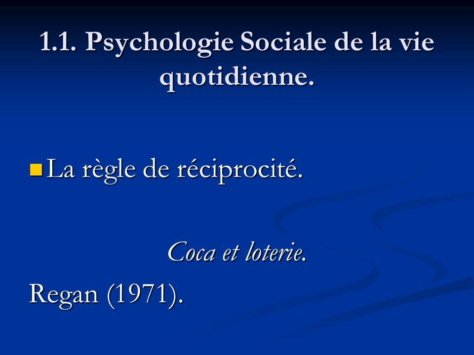 1.1. Psychologie Sociale de la vie quotidienne. La règle de réciprocité. La règle de réciprocité. Coca et loterie. Regan (1971).