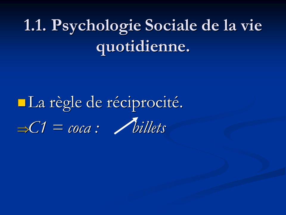 1.1. Psychologie Sociale de la vie quotidienne. La règle de réciprocité. La règle de réciprocité. C1 = coca : billets C1 = coca : billets