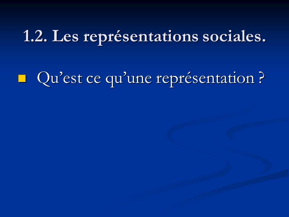1.2. Les représentations sociales. Quest ce quune représentation ? Quest ce quune représentation ?