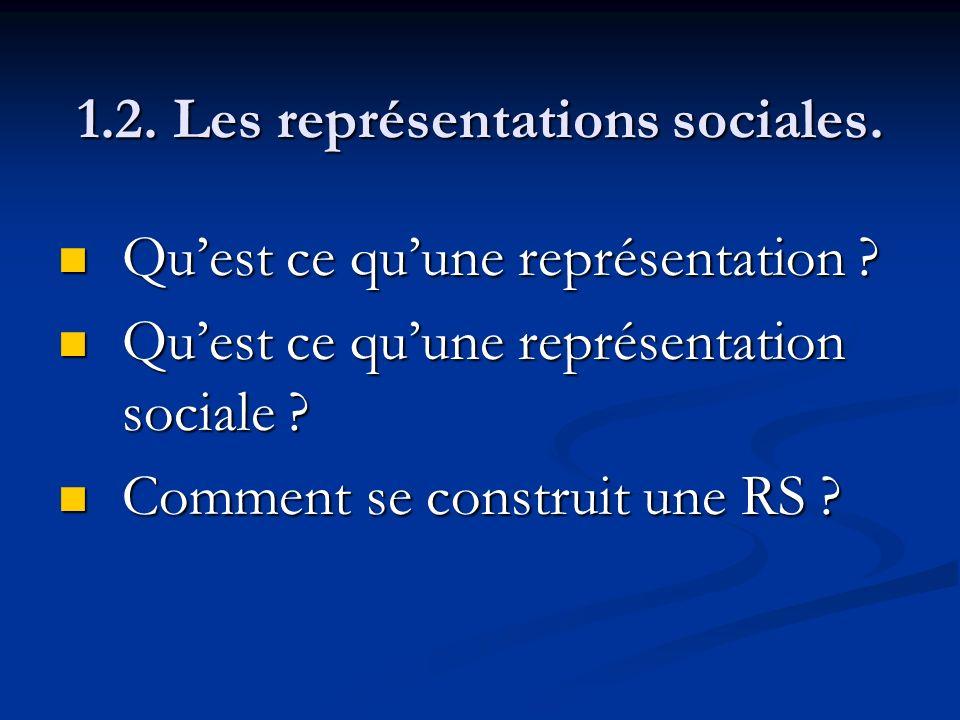 1.2. Les représentations sociales. Quest ce quune représentation ? Quest ce quune représentation ? Quest ce quune représentation sociale ? Quest ce qu