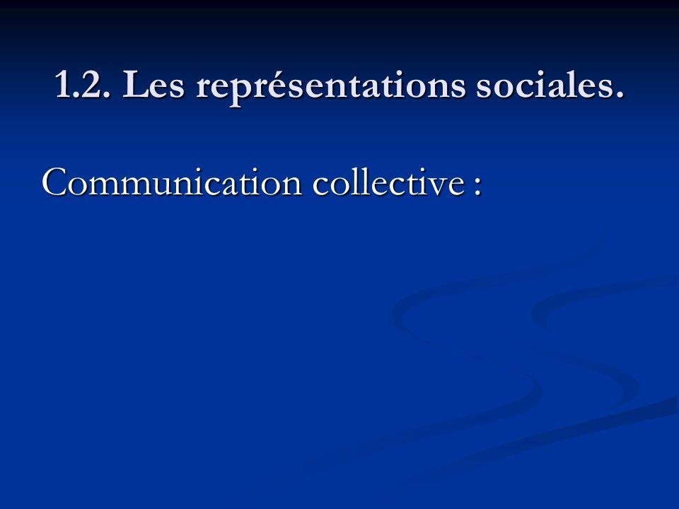 1.2. Les représentations sociales. Communication collective :