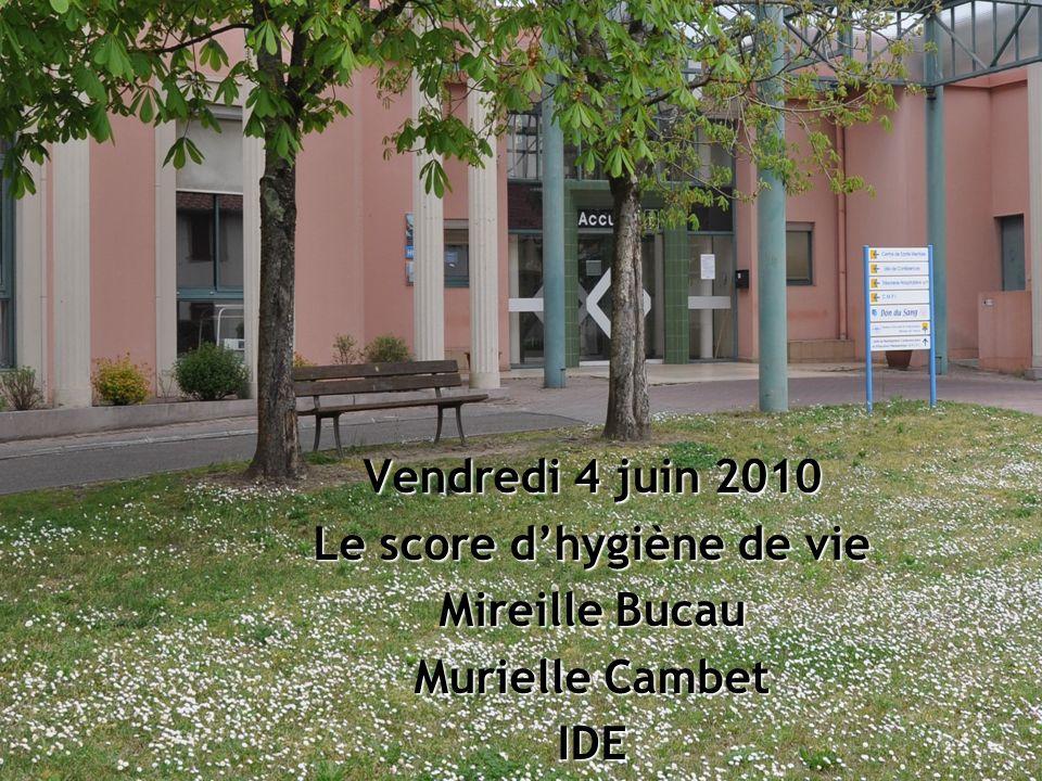 Vendredi 4 juin 2010 Le score dhygiène de vie Mireille Bucau Murielle Cambet IDE