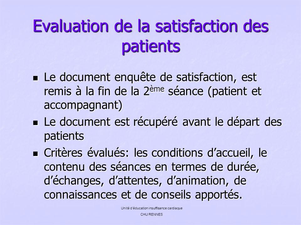 Evaluation de la satisfaction des patients Le document enquête de satisfaction, est remis à la fin de la 2 ème séance (patient et accompagnant) Le doc